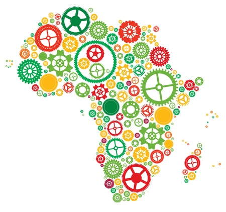 mapa de africa: África de ruedas dentadas y engranajes
