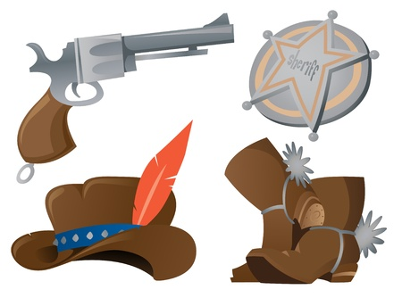 Cartoon Cowboy Icon Set Vector