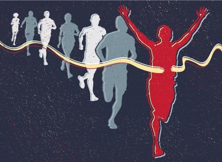 jogging track: Retro Runners Illustration