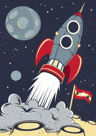 Retro Space Raket Liften Off Vector Illustratie