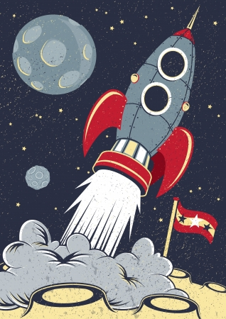 Retro Space Rocket Lifts Off Stock Vector - 19692180