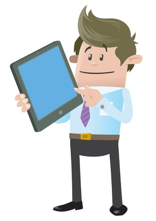 Business Buddy with Computer Tablet Vector