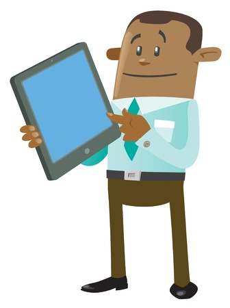 buddy: Ethnic Business Buddy with Computer Tablet Illustration
