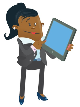 Ethnic Businesswoman Buddy with Computer Tablet Stock Vector - 19692178