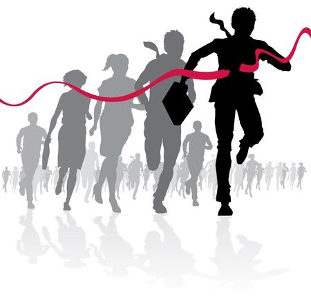 winning first: Businessman crossing the finish line Illustration