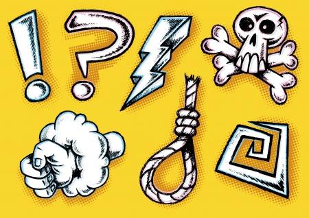 cursing: Hand Drawn Retro Styled Cartoon Doodle Cursing Icons Illustration