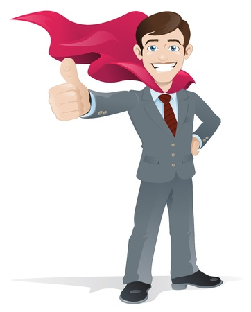 Superhero Businessman gives the thumbs up Vector