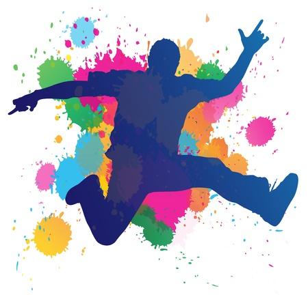 divertirsi: Giovane uomo che salta su uno sfondo splatter vernice