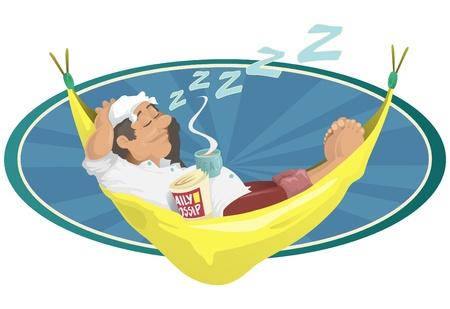 restful: Man sleeping in Hammock Illustration