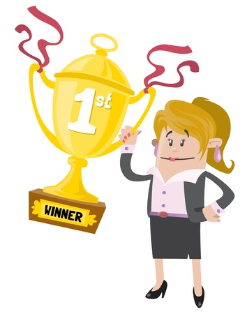Businesswoman Buddy wins a First Prize trophy Stock Vector - 20301593