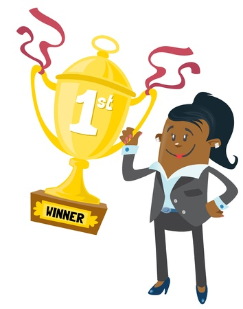 african woman at work: Ethnic Businesswoman Buddy wins a First Prize trophy Illustration