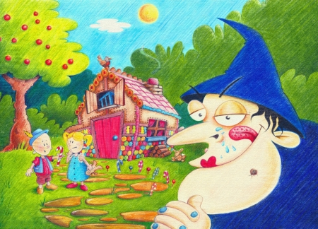 Illustration of Hansel and Gretel next to a candy house they have found in the forest. Little do they know it is a trap for a very hungry witch!