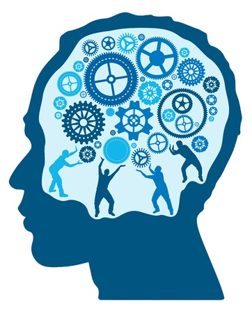 Silhouette Men turning and Pushing Cogs in the Brain Stock Vector - 21525048