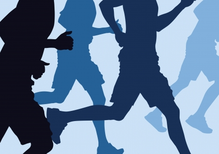 cross country: illustration of a group of men Running in a cross country run Illustration