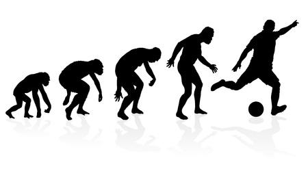 origen animal: Evolución de un jugador de fútbol Vectores