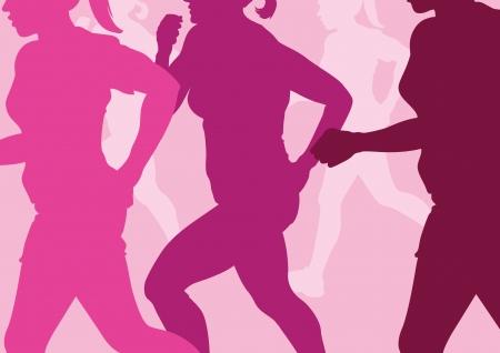 mujer ejercitandose: Running Mujeres Abstracto Vectores