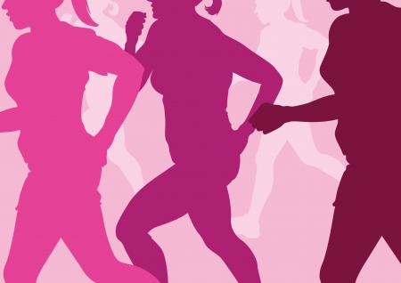 running silhouette: Running Women Abstract