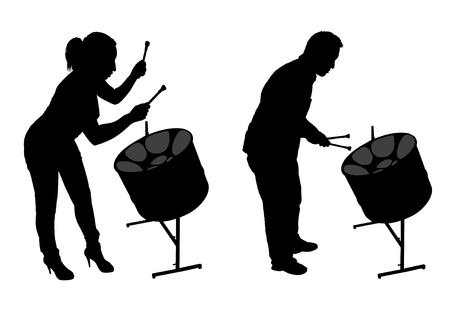 steel pan: Tambor de acero Siluetas de jugadores Vectores