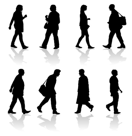 people walking: Walking Adults Silhouettes Illustration