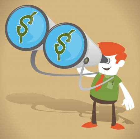 sales executive: Individuo corporativo con el dinero en sus prism�ticos