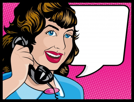illustration of Pop Art Style Comic book woman gossiping away on the telephone Stock Vector - 21666969