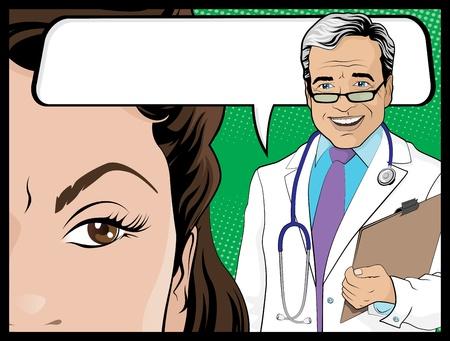 persona confundida: ilustraci�n del estilo del arte pop doctor Comicbook y mujer paciente hablando de los resultados del examen m�dico o tal vez algo rom�ntico