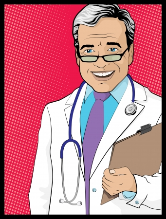 Vintage Pop Art Style Comic book Doctor