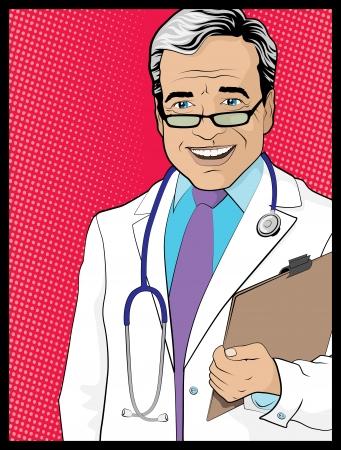Vintage Pop Art Style Comic book Doctor