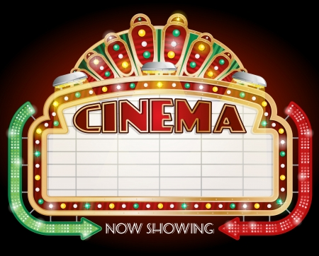 illustration of a Cinema sign with two arrows  Vector