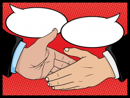 Vintage Style Comic book Handshake with Speech Bubbles Stock Vector - 21958634