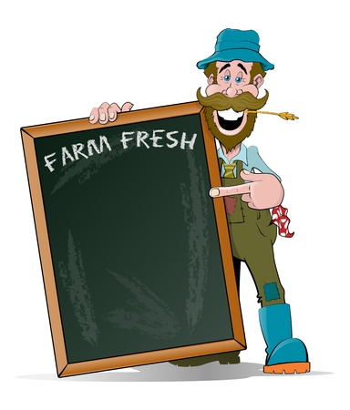 Happy Farmer pointing at his Big Sign Vector