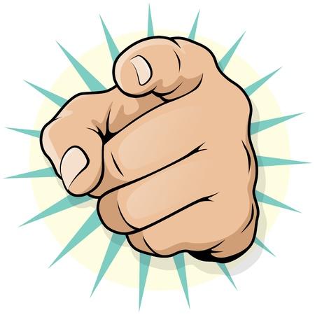 montrer du doigt: Art Pop Vintage main de pointage