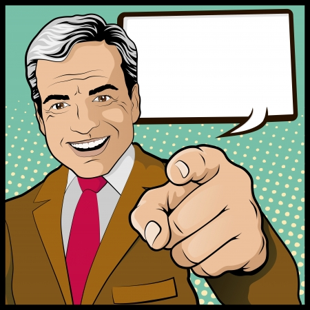 indicate: Vintage Pop Art Man with Pointing Hand Illustration