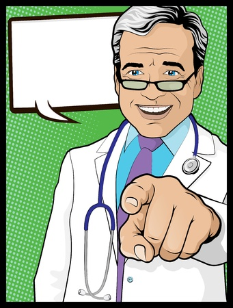 hand pointing: Vintage Pop Art Doctor with Pointing Hand