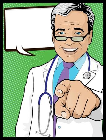Vintage Pop Art Lekarz z Wskazując ręką
