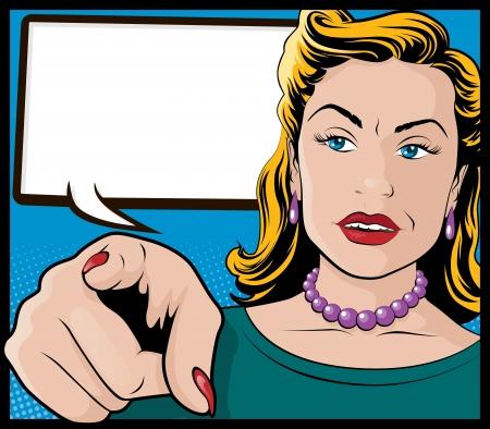 you: Vintage Pop Art Femme avec la main pointant