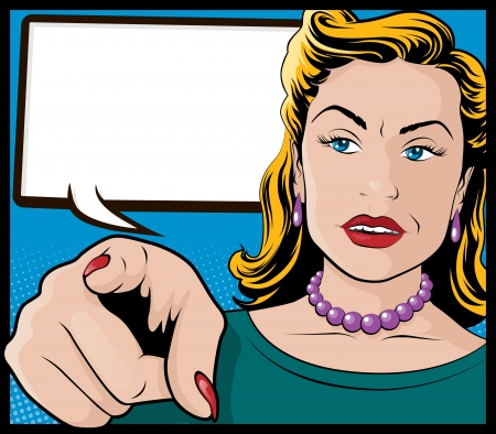 caption: Vintage Pop Art Woman with Pointing Hand Illustration