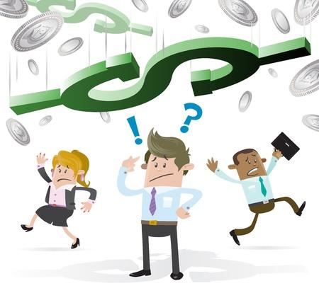 Biznes Buddy stoi pod Falling Gospodarki
