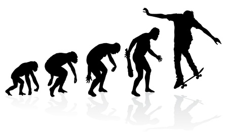 humans: Evolution of a Skateboarder Illustration