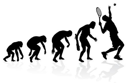 origen animal: Evolución de un jugador de tenis Vectores