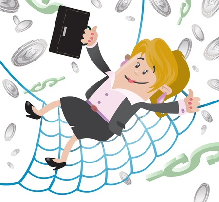 safety net: Businesswoman Buddy has a Financial Safety Net  Illustration
