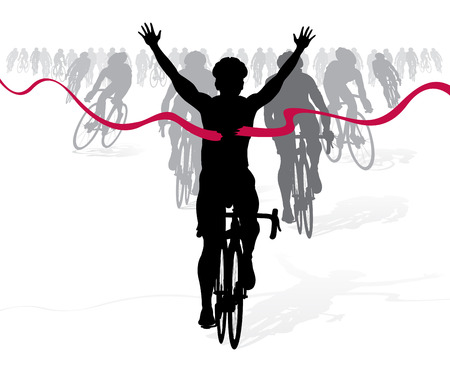 Winning Cyclist crosses the finish line in a race Vector
