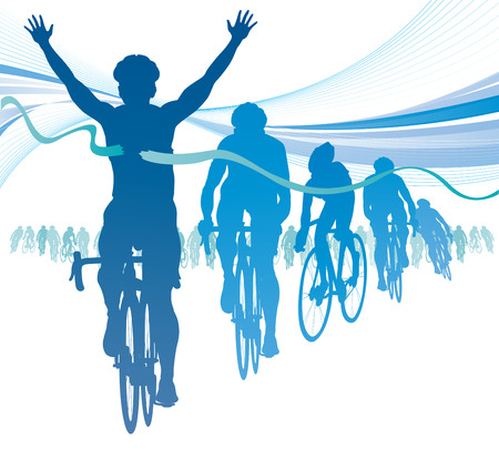 Abstract Cyclist winning the race against competitors
