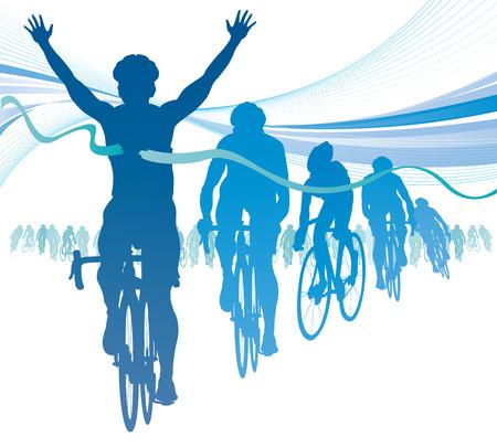 Estratto Ciclista vincere la gara contro i concorrenti Vettoriali