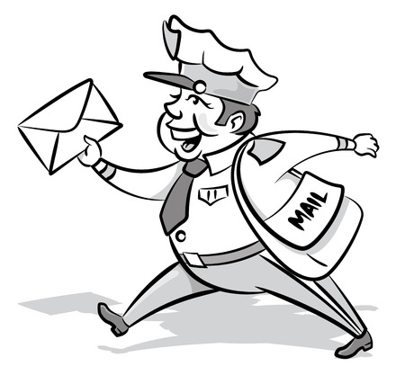 cartoon envelope: Vintage Styled Mailman with a letter