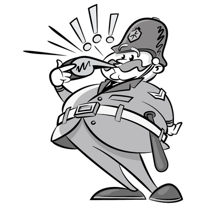 Vintage Styled Policeman with a whistle Vector