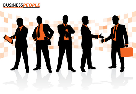 Business People in Team Pose Vector