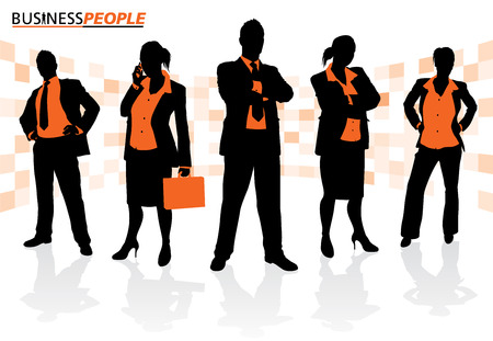Group of Male and Female Business People Vector