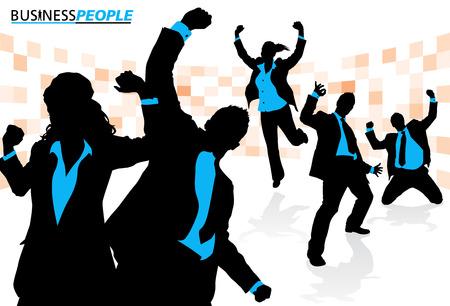 cheering: Business Team Enjoying Success