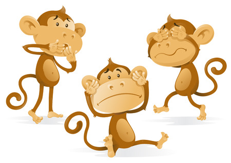 naughty: See Hear Speak No Evil Monkeys Illustration